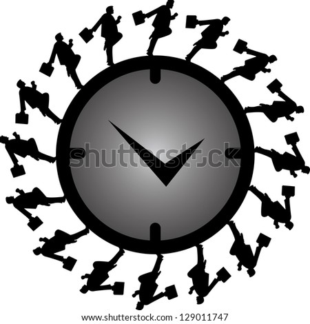 Business Or Time Management Concept Present By The Businessman Running Around The Clock Isolated on White Background - stock photo