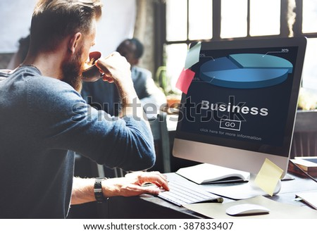 Business Organization Pie Chart Statistics Concept - stock photo