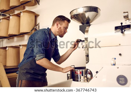 Business owner roasting coffee beans with a modern machine - stock photo