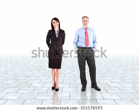 Business partners in a bright room - stock photo