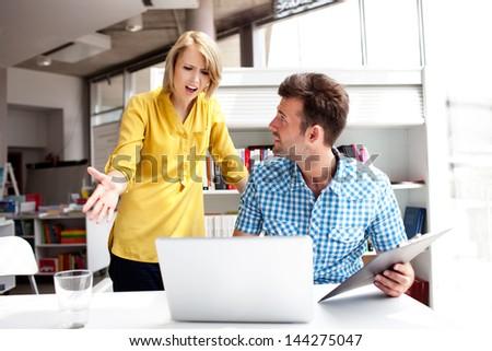 business partners  pick a quarrel - stock photo