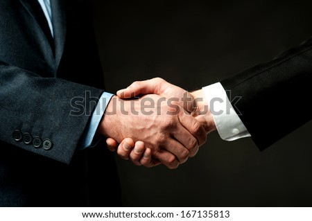 Business partners shaking hands, closeup shot - stock photo