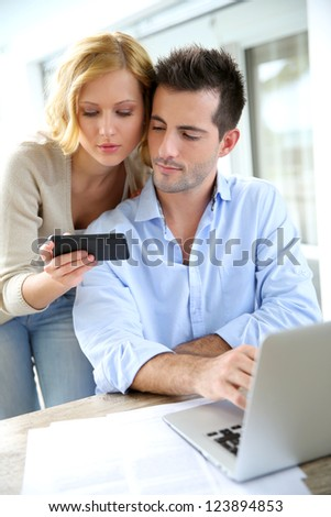 Business partners working from home - stock photo