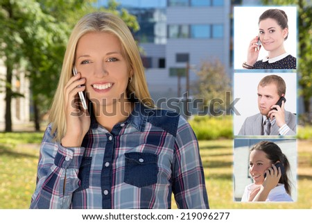 business partnership concept - beautiful woman with phone and her colleagues - stock photo
