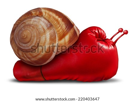 Business patience noncompetitive crisis and inferior competitive skill as a red boxing glove shaped as a snail in a unambitious metaphor for lack of innovation and weak success or long term strategy. - stock photo