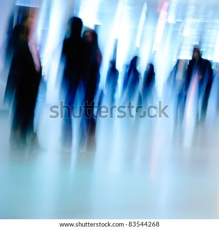business people abstract background blur motion - stock photo