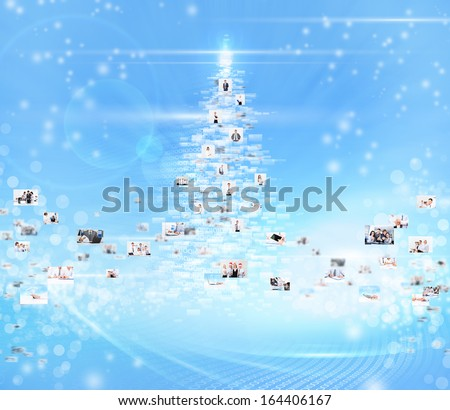 business people abstract blue background, concept of new year christmas tree businesspeople International social communication - stock photo