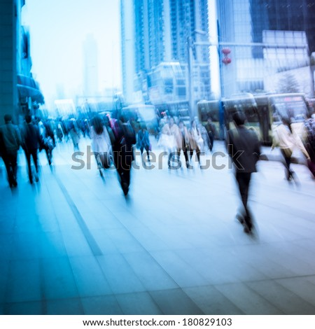 business people activity at big city. Blur motion. - stock photo