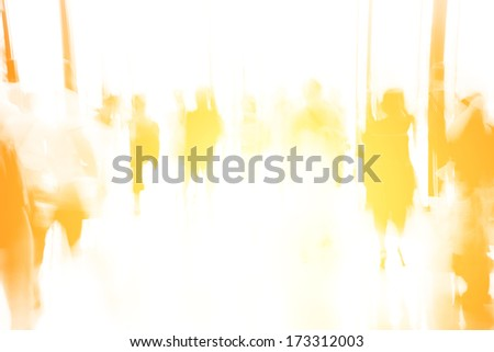 business people activity standing and walking in the lobby motion blurred abstract backgorund - stock photo