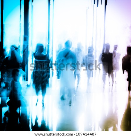 business people activity standing and walking in the lobby motion blurred abstract background - stock photo