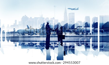 Business People Agreement Airport Hand Shake Global Business - stock photo