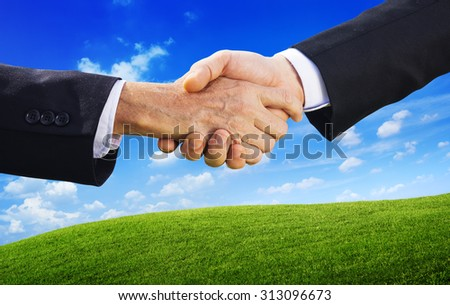 Business People Agreement Handshake Partner Concept - stock photo