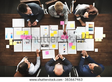 Business People Analyzing Statistics Financial Concept - stock photo