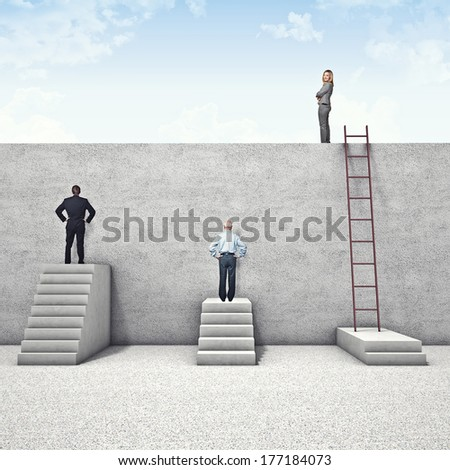 business people and abstract wall problem - stock photo