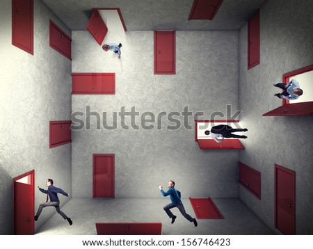business people and 3d abstract doors construction - stock photo