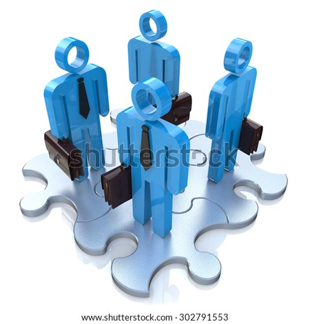 Business People and Jigsaw Puzzle Pieces. Teamwork Concept  - stock photo
