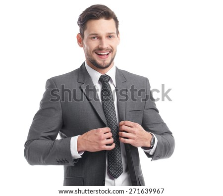 business, people and office concept - happy smiling businessman in suit - stock photo