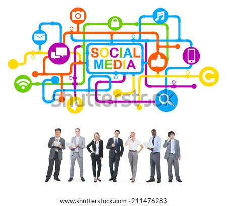 Business People and Social Media Concepts - stock photo
