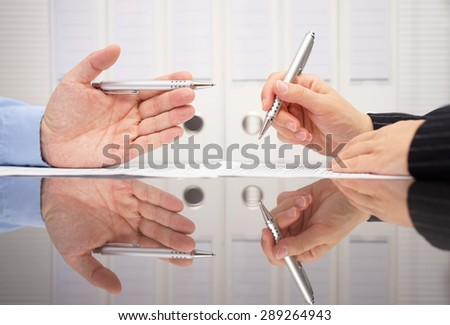 business people are discussing about  business data - stock photo