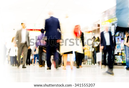 Business people blur. People walking in rush hour. Business and modern life concept - stock photo