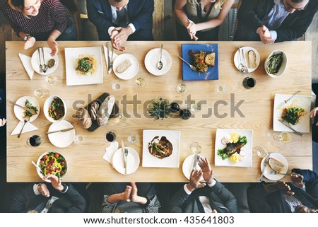 Business People Cafe Celebrate Friend Dining Concept - stock photo