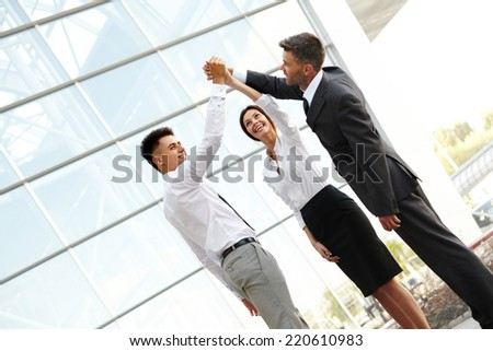 Business People Celebrate successful project. Team Work - stock photo
