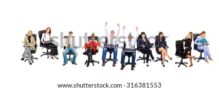 Business People Chairs in Line  - stock photo