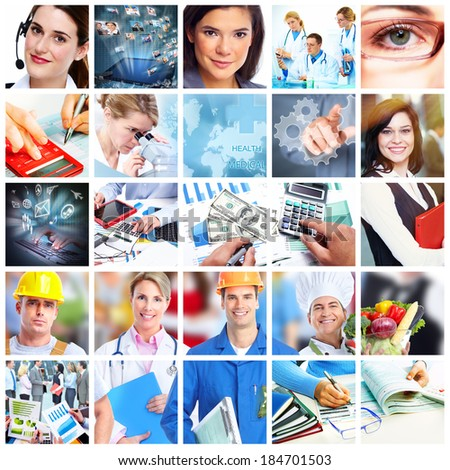 Business people collage. Accounting and technology background. - stock photo