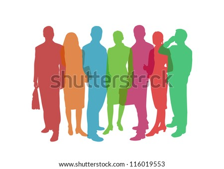 business people colorful illustration - stock photo