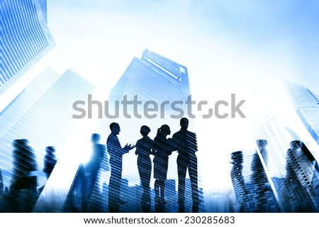 Business People Communication Cityscape Concept - stock photo