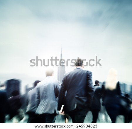 Business People Commuter Rush Hour City Concept - stock photo
