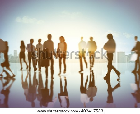 Business People Commuter Walking Traveling Concept, blurred - stock photo