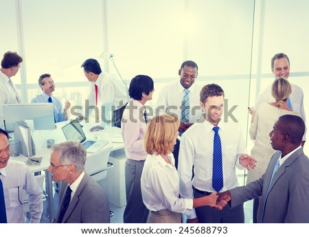 Business People Conversation Communication Talking Team Concept - stock photo