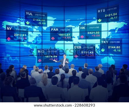 Business People Corporate Seminar Stock Exchange Finance Concept - stock photo