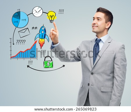 business, people, development and startup concept - happy businessman in suit touching business scheme - stock photo