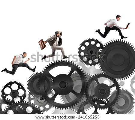 Business people difficult career in a mechanism system - stock photo