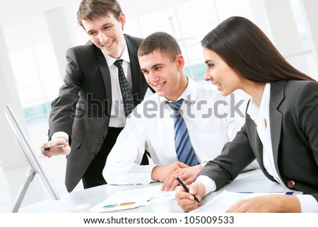 Business people discussing during a working meeting - stock photo