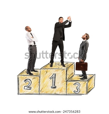 Business people envy businessman came to success - stock photo
