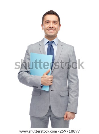 business, people, finances and paper work concept - happy smiling businessman in suit holding folder - stock photo