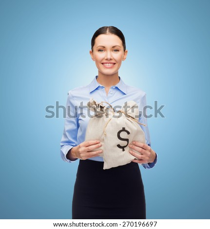 business, people, finances, investments and banking concept - young businesswoman holding money bags with euro over blue background - stock photo