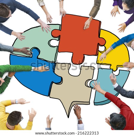 Business People Forming a Jigsaw Puzzle Speech Bubble - stock photo