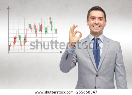 business, people, gesture and financial success concept - happy smiling businessman in suit showing ok hand sign over gray background with forex chart - stock photo
