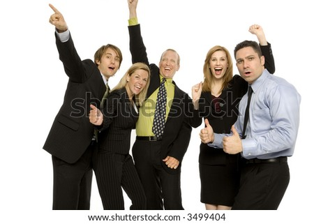 Business people gesture excitement together - stock photo