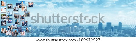 Business people group banner background. Education and occupation. - stock photo