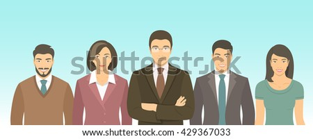 Business people group flat illustration. Successful team of young ambitious Asian men and women in business suits. Office staff employment concept. Leader with his team.  New business start up - stock photo