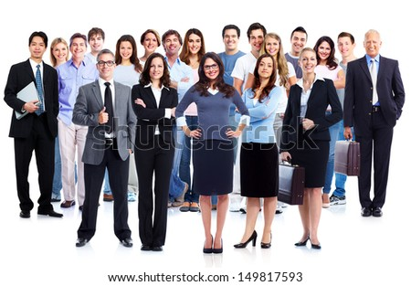 Business people group. Isolated over white background. Education. - stock photo