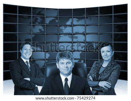 Business people. Group of people and big virtual the monitor with the image map the earths on a background. - stock photo