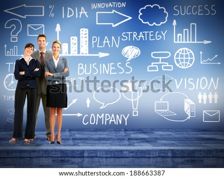 Business people group over conceptual  blue background - stock photo