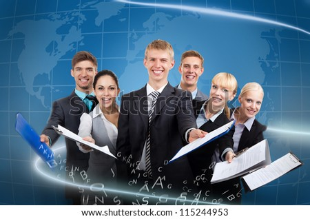 Business people group team hold documents clipboard sign up contract concept, young businesspeople standing together smile, over digital globe world map background - stock photo