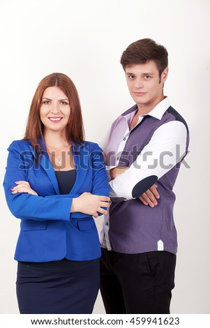 Business people group team standing folded hand smiley, businessman and businesswoman wear over white background - stock photo